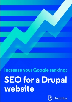 "Abstract cover of the e-Book representing a chart with the rising trend. Its title is ""Increase your Google ranking. SEO for a Drupal website""."